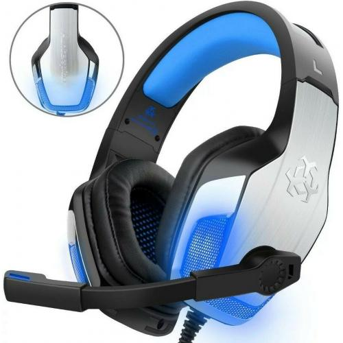 Deep Bass Brushed Metal LED Light Gaming Headphone Over-ear Headset , Mic