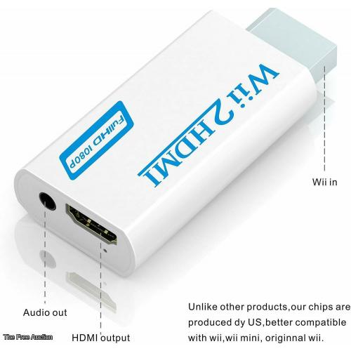 Wii to hdmi Converter,Adapter 1080p 720p Connector Output Video & 3.5mm Audio -